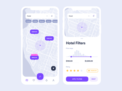 Digital map and guide of city search tags navigation location travel userinterface purple price range rating filter hotel map clean application mobile app interface design ux ui