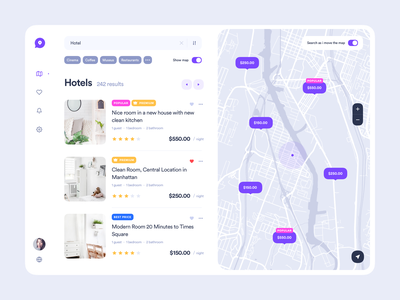 Web version of digital map tags search results places dashboard travel uiux search list hotel location map clean material web design product web interface design ux ui