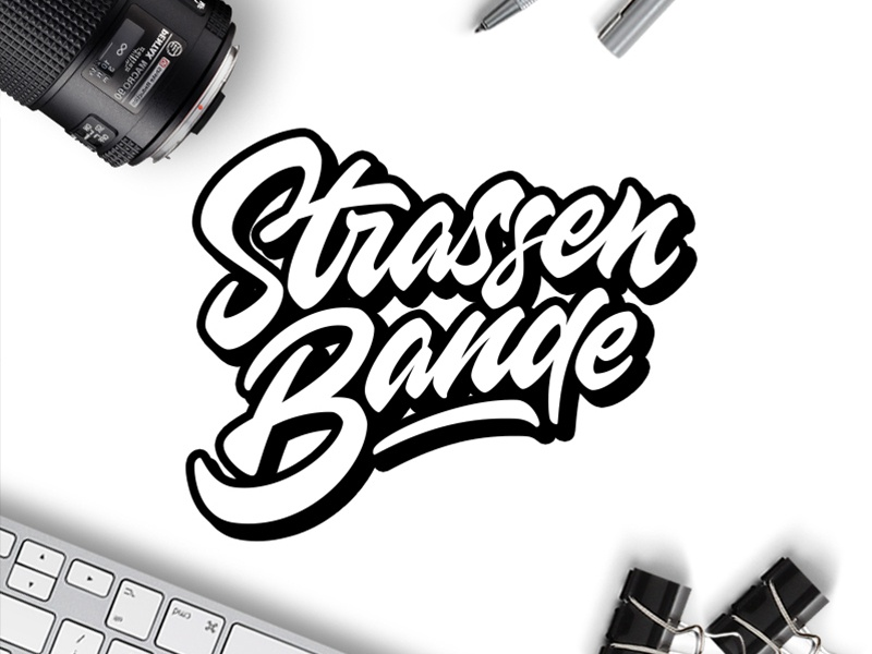 Strassen Bande loveletters axes logodesign calligraphy illustration branding vector design graffiti type handmade typeface brush script logo typism letters logotype lettering typography