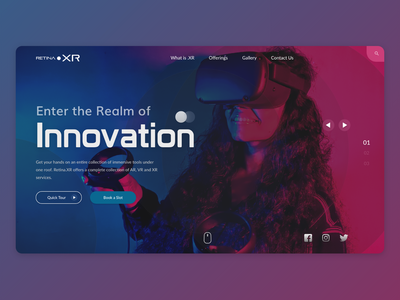Front page for Retina.XR uxinspiration graphicdesign oculus rift oculus vr ui uiux augmentedreality design ux uxdesign uidesign