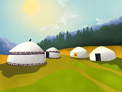 Somewhere in Kyrgyzstan invite color design sky sun green nature yurt watercolor kyrgyzstan ipad procreate landscape draw paint