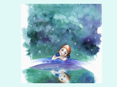 Mirando las estrellas watercolour story infantil ilustración illustration cuento childhood book acuarela