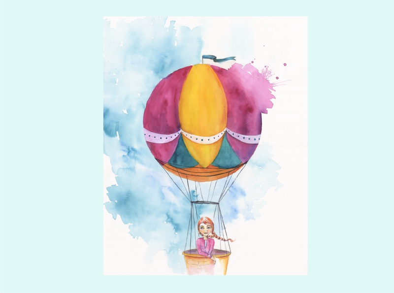 Viajando en globo watercolour story infantil ilustración illustration cuento childhood book acuarela
