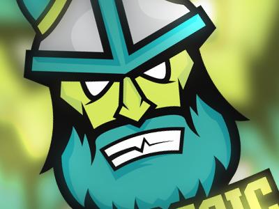 Barbaric eSports Mascot esports logo yellow blue barbaric mascot viking