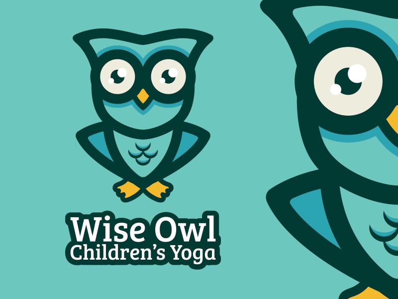 Wise Owl Children's Yoga illustration logo cute friendly teal yoga child kids children owl wise