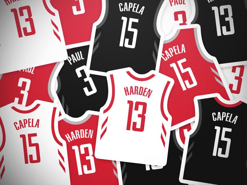 Rockets Jersey Stickers illustration sports james harden harden jersey basketball houston rockets