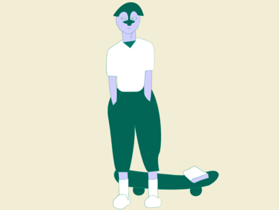 Skaterboy minimal web ui vector rikaotsuka flat editorialillustration