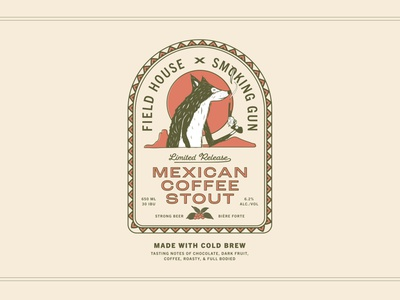 Mexican Coffee Stout illustrator label packaging labeldesign brewery beer label beer branding adobe illustrator illustration design illustrations