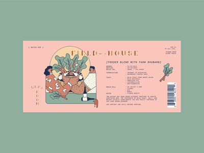 Foeder Rhubarb Blend bottle label bottle rhubarb vector label labeldesign beer beer label adobe illustrator branding design illustration