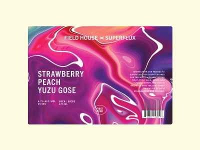Field House x Superflux Strawberry Peach Yuzu Gose label craft beer label craft beer brewery mix pack second pour first pour field house superflux colorful mixing collab abstract swirl packaging gose yuzu beer label beer