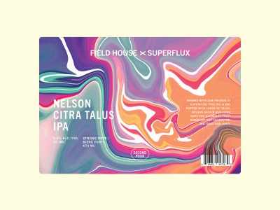 Field House x Superflux Nelson Citra Talus IPA label craft beer label craft beer brewery mix pack second pour first pour field house superflux colorful mixing collab swirl abstract beer packaging packaging citra nelson beer label beer