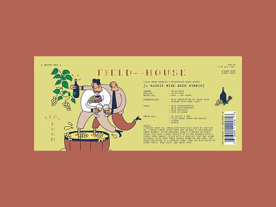 BRRL ROOM L'acadie Wine Beer Hybrid Label character illustration aged barrel wine beer label