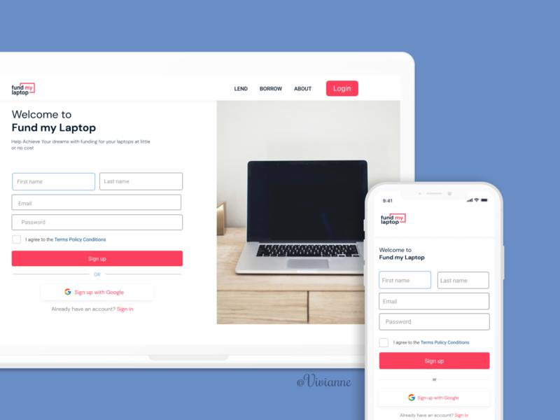 Sign up page design minimal design website ux ui branding