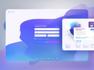 Drawnblue Cryptocurrency design logo currency web ux ui site navigation landing login crypto cryptocurrency blockchain