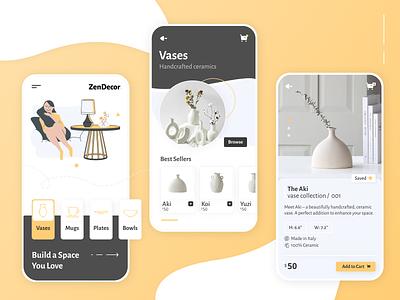 ZenDecor | Shopping Ecommerce Mobile App UX/UI Design mobile app design mobile design ecommerce ecommerce app shopping app app ux app design app ui