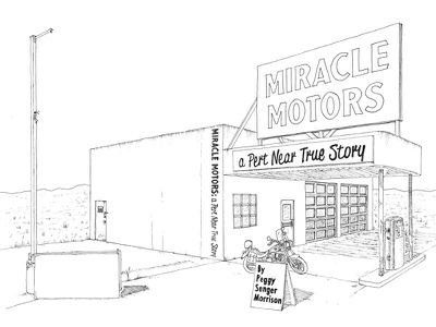 Miracle Motors Book Cover Inked illustration book cover desert motorcycle garage book cover line drawing