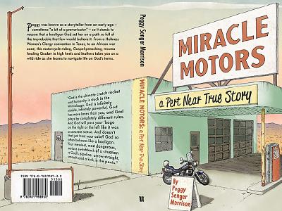 Miracle Motors Book Cover book illustration desert motorcycle garage design book cover