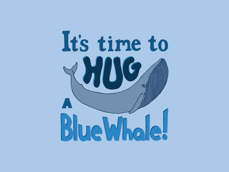 Kid Quote: It's Time to Hug a Blue Whale! quote lettering illustration whale hug kid quotes hand lettering