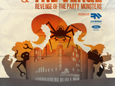 E3 Poster Combo Concept vox media polygon party robots monsters e3 the verge illustration event movie poster tower theater los angeles ford fiesta