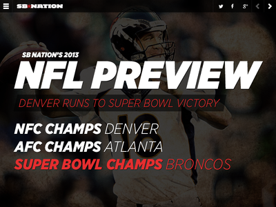 SB Nation's 2013 NFL Preview vox media sb nation fantasy football football sports nfl landing page broncos hfj gotham narrow italic typography