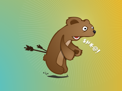 Clumsy Bear clumsy bear illustration character design print arrows