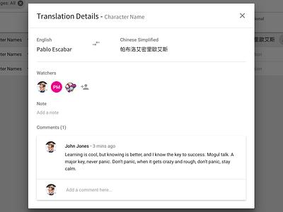 Key Names & Phrases - Netflix Localization Platform platform design user experience netflix user interface material design modal glossary localization scripts screenplays