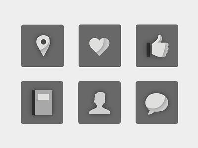 Before Color illustration icon sxsw presentation keynote marionette location heart like book user comment vox media symbol set