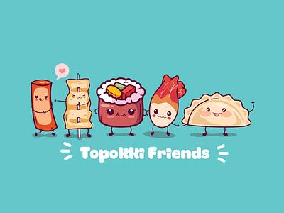 Topokki Friends logo dimsum korea food korea food toppokki logo design adobe illustrator logo branding