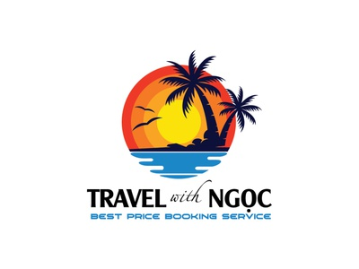 Travel with Ngoc logo by Brandall Agency coconut coconut tree travelling traveling sunset sea island booking service travel agency tourism travel brandall logo design logo