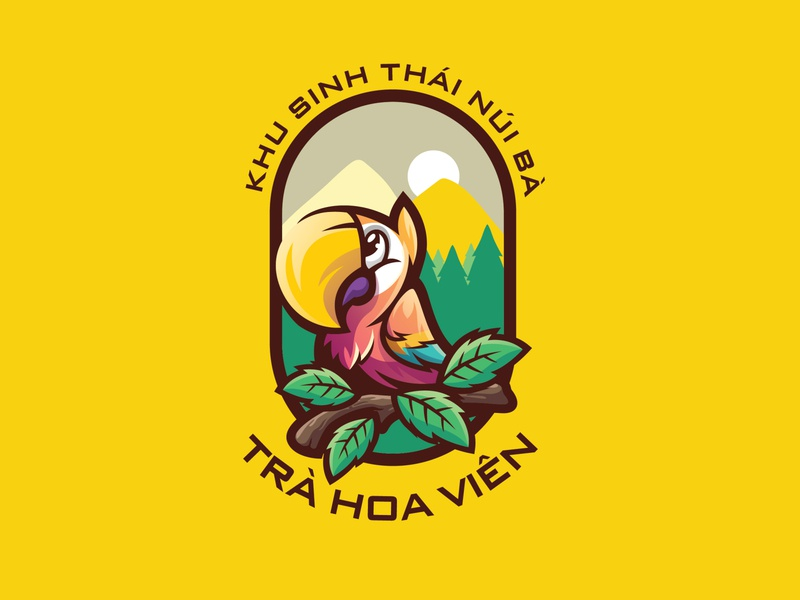 Trà hoa viên - Natural Park logo by Brandall Agency garden flower tea tea yellow green vietnamese vietnam illustration adobe illustrator chibi colorful tree mountain forrest logo design logodesign parrot park vector logo