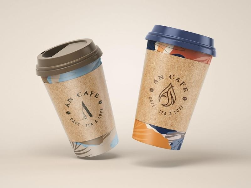 An Cafe - Cafe, Tea & Love logo by Brandall Agency bean coffee bean brown coffee cup tealeaf tea café cafe logo coffee shop cafe coffee logo design logo branding