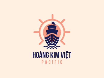Hoàng Kim Việt Pacific Transportation logo by Brandall Agency logo design logo branding handling wheel wheels handle handling argosy ship transportation transports transport pacific transport pacific