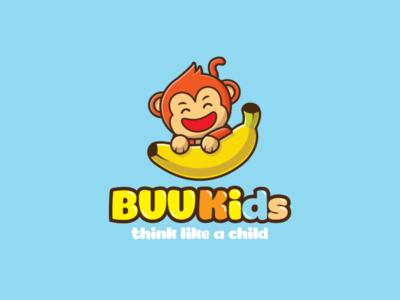 Buu Kids logo by Brandall Agency smile funny fruits yellow fruit monkeys education logo kids illustration kid learning learning preschool education banana monkey kid kids illustration logo design logo branding