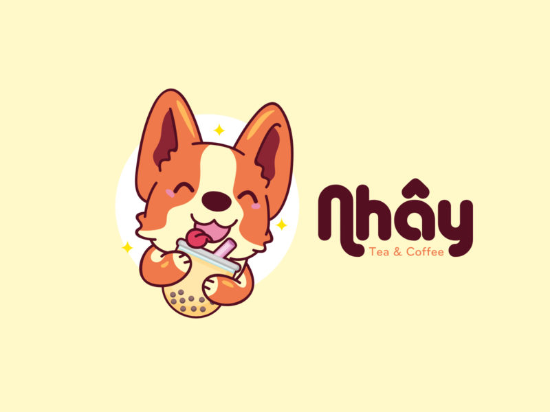 Nhây Tea & Coffee logo by Brandall Agency dogs cute bubble bubble tea food and drink food drink cafe tea coffee pets pet puppies puppy dog illustration logo design logo branding