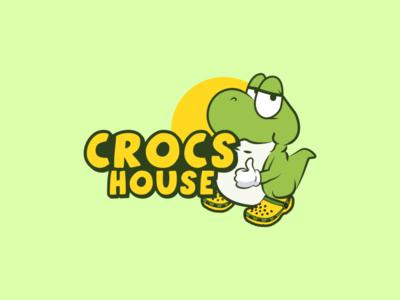 Crocs House logo by Brandall Agency character animal green store shop clog foam foot footwear house shoe shoes sandal sandals crocodile crocs illustration logo design logo branding