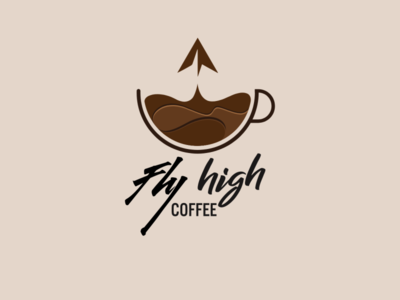 Fly High Coffee logo by Brandall Agency fly launch startup cup coffee cup coffee airplane planes paper planes paper plane plane flying high flyer fly high illustration logo design logo branding