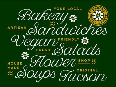 August Rhodes Market - Banner wheat bakery tucson vegan salads soups sandwiches flowers script banner restaurant