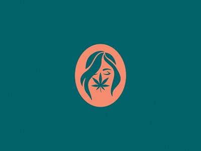 Canna– feminine female woman brand identity beauty health leaf hair face illustration logo branding hemp cbd marijuana cannabis