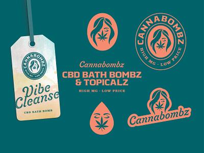 Cannabombz logo woman topical bath bomb hemp cannabis cbd