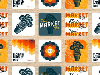 Flora's Market Run - Applications branding market pattern arizona tucson coasters floras illustration