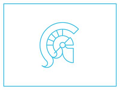 Helmet line logo greek trojan spartan helmet