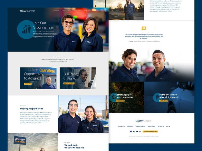 Careers Website car wash webpage design job site careers