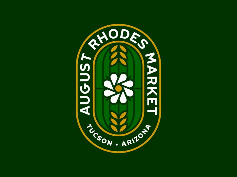August Rhodes Market branding arizona tucson bakery wheat flower cactus logo restaurant market rhodes august