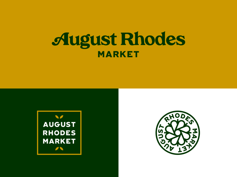 August Rhodes Market - Other Marks gold green cactus flower branding logos arizona tucson market rhodes august