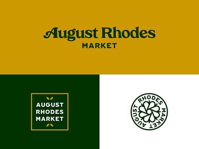 August Rhodes Market - Other Marks gold green cactus flower branding logos arizona tucson market rhodes august