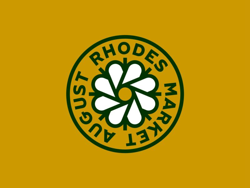 August Rhodes Market Roundel bakery circle gold green cactus flower badge logo roundel market rhodes august