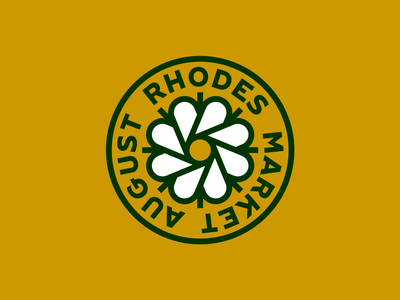 August Rhodes Market Roundel bakery circle gold green cactus flower badge logo roundel market rhodes august