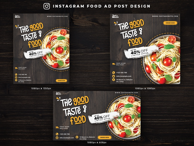 INSTAGRAM FOOD AD DESIGN  |  ALL INSTA SIZES banner ad ad design cc2014 instagram banner instagram post banner design adobe banner logo cc2015 illustration photoshop graphicdesign branding art