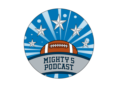 Mighty 5 Podcast sports logo illustration football design