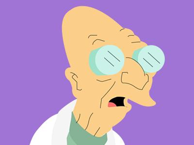 Professor Farnsworth - Futurama purple mood old hair hero flat cartoon professor farnsworth futurama